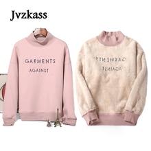 Jvzkass 2019 new Lamb velvet womens hedging half-high collar winter thick padded Korean loose warm hoodie Z65