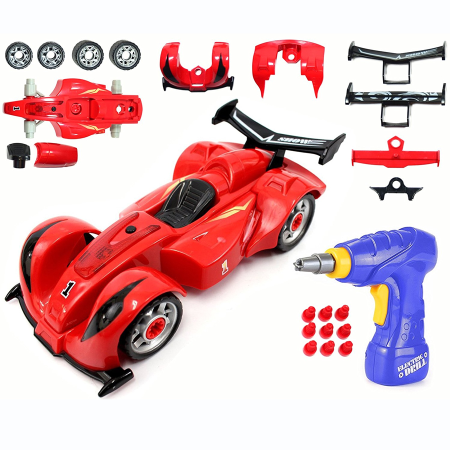 DIY Disassembling  Formula One Car Model Toy Kit - Creative Learning, Hands-on Construction,Hand Tool Drill Lights and Sounds bwl 01 tyrannosaurus dinosaur skeleton model excavation archaeology toy kit white