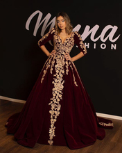 Long Evening Dress 2019 Elegant V-neck 3/4 Long Sleeves Lace Arabic Burgundy Velvet Formal Women Evening Gowns robe de soiree burgundy lace up front v neck long sleeves jumper