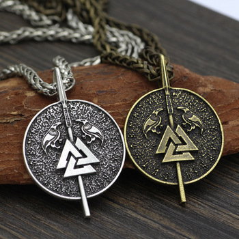 Viking Asura Odin Gungnir With Raven Talisman Valknut Pagan Amulet Pendant  Viking Necklace