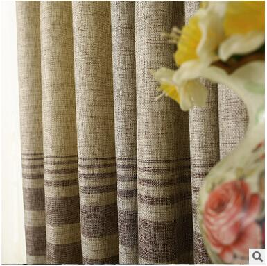 Baumwolle Leinen gestreiften Modernen Luxus Fenster Vorhänge für - Haustextilien - Foto 3