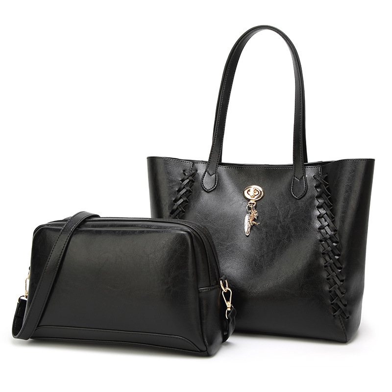 European and American fashion women's waxed leather bag wholesale new sub-mother bag 2 - piece shoulder bag bags