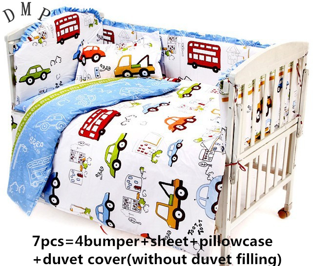 Promotion! 6PCS Baby bedding sets 100% cotton baby bedclothes Cartoon crib set (bumper+sheet+pillow cover)