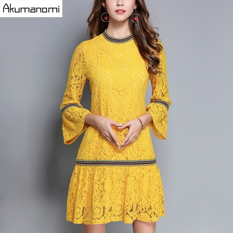 Autumn Winter Lace Dress Stand Collar Flare Wrist Sleeve A line Yellow Vintage Women Clothes Spring