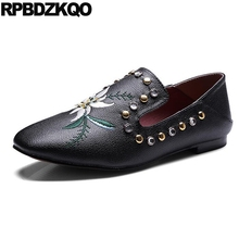 Black Embroidery Women Stud Rivet Retro Loafers Cheap Shoes China Embroidered Wide Fit 10 Flats Large Size Drop Shipping