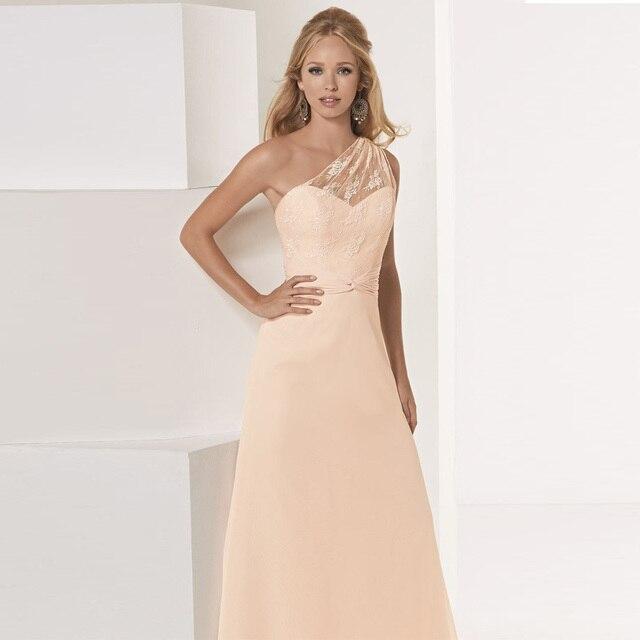 Light Orange One Shoulder Lace Long Bridesmaid Dress Floor Length 2017 Robe Demoie D Honneur