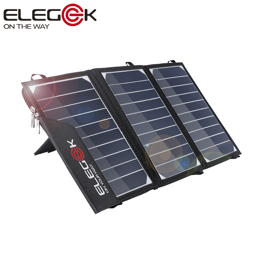 ФОТО ELEGEEK 15W Portable Solar Charger Foldable SUNPOWER Solar Panel Charger with Dual USB Ports Tuck Net and Stand for Cell Phone