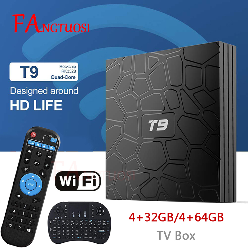 FANGTUOSI T9 TV Box Android 8,1 4 GB 32 GB 64 GB Smart TV Rockchip RK3328 1080 p H.265 4 K Google Netflix, Youtube reproductor de medios
