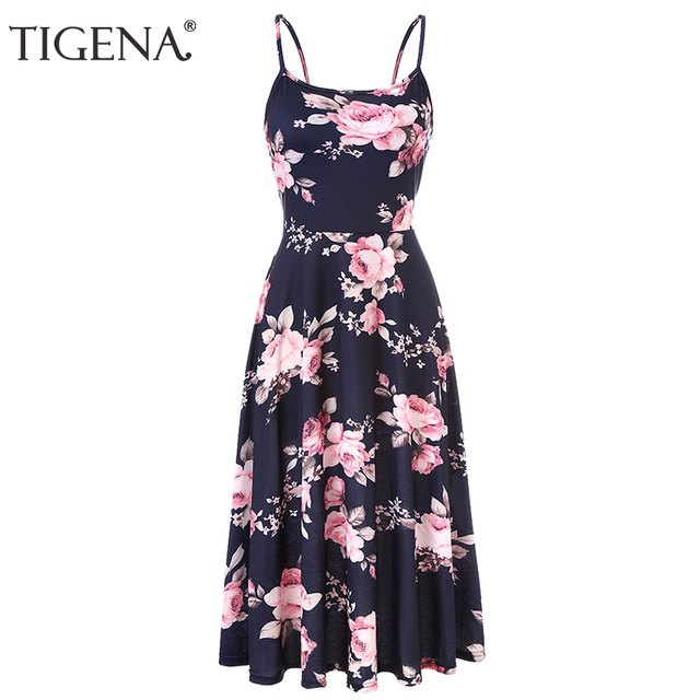 019dd3b874c TIGENA Women Summer Dress 2018 Floral Print Tunic Backless Midi Long Party  Dress and Sundress Women Boho Beach Dress Robe Femme