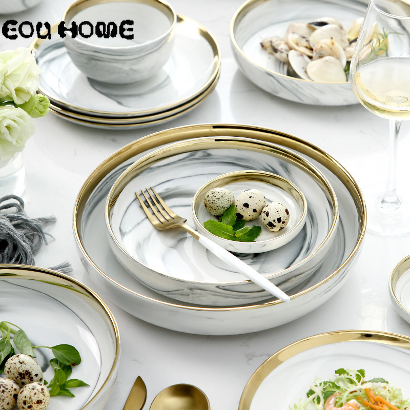 8pce set Nordic Ceramic Dinnerware Sets Gold Inlay Marble Household Tableware Rice Soup Bowl Dinner Plate