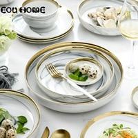 8pce/set Nordic Ceramic Dinnerware Sets Gold Inlay Marble Household Tableware Rice Soup Bowl Dinner Plate Dessert Steak Dish