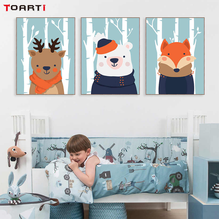 Snow Landscape Animals Wall Art Modular Pictures Cartoon Child Poster For Baby Room Paintings On