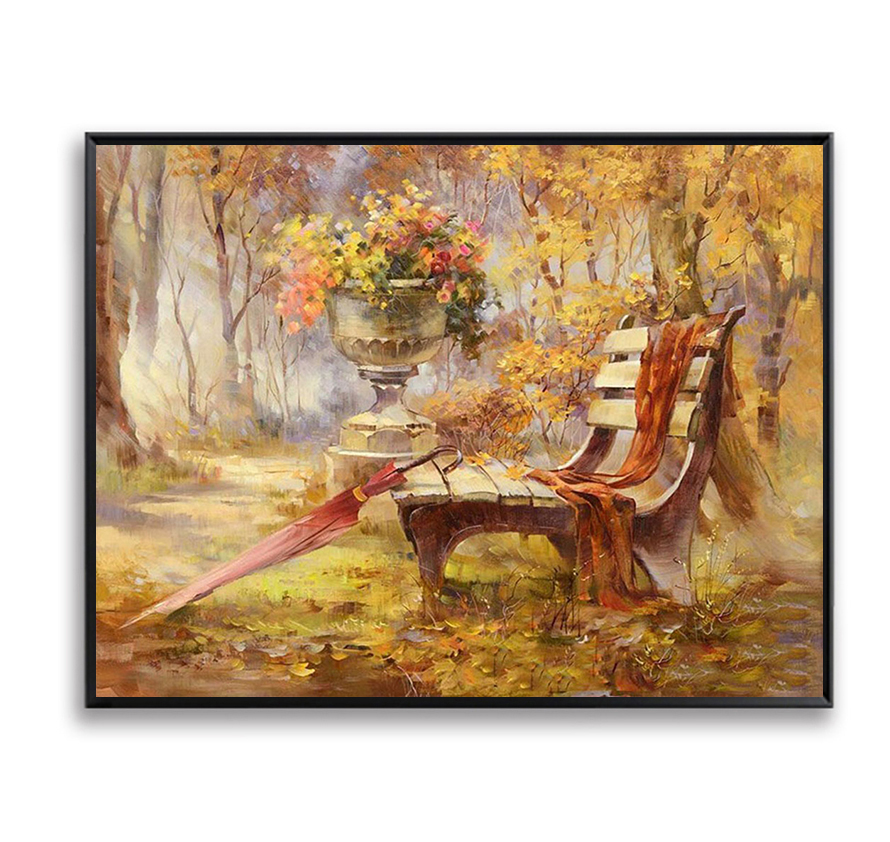 Chair Park Autumn Landscape DIY Painting By Numbers Hanging Wall Art Picture Handpainted Oil Painting Home Decor Artwork FSZ-67