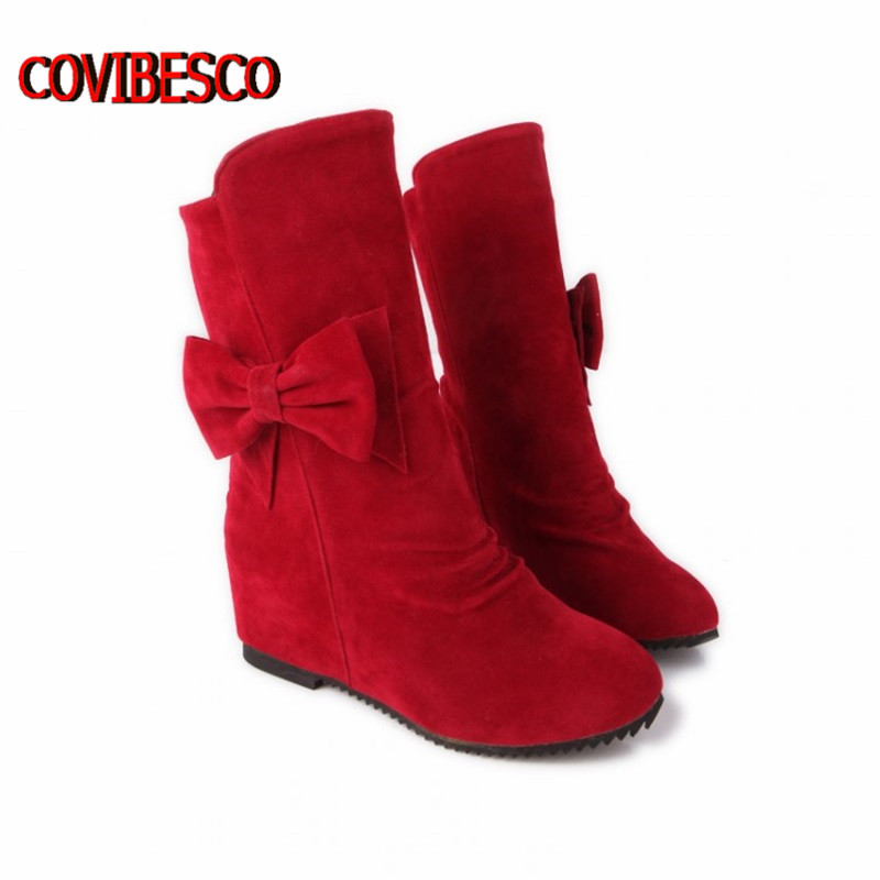 ФОТО Super big size30-49,Women's Fashion Boots sweet bowtie high heeled wedges shoes black brown red warm winter autumn shoes