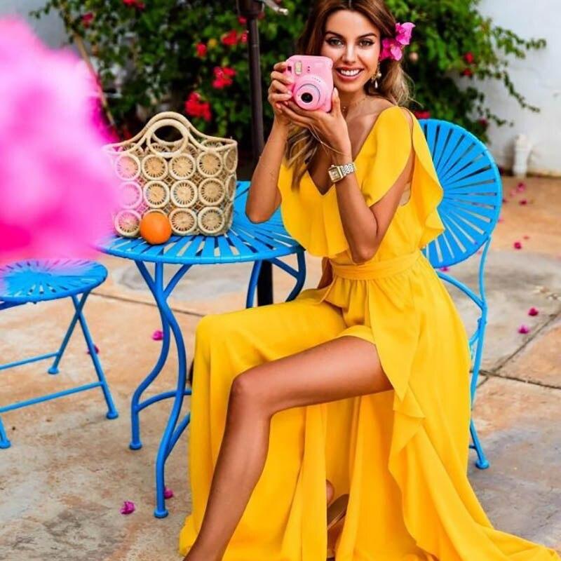Лето и Осень Желтый длинное платье Sexy V шеи вилка открытие оборками платье Повседневное туника с открытым плечом пляж на платье для отпуска