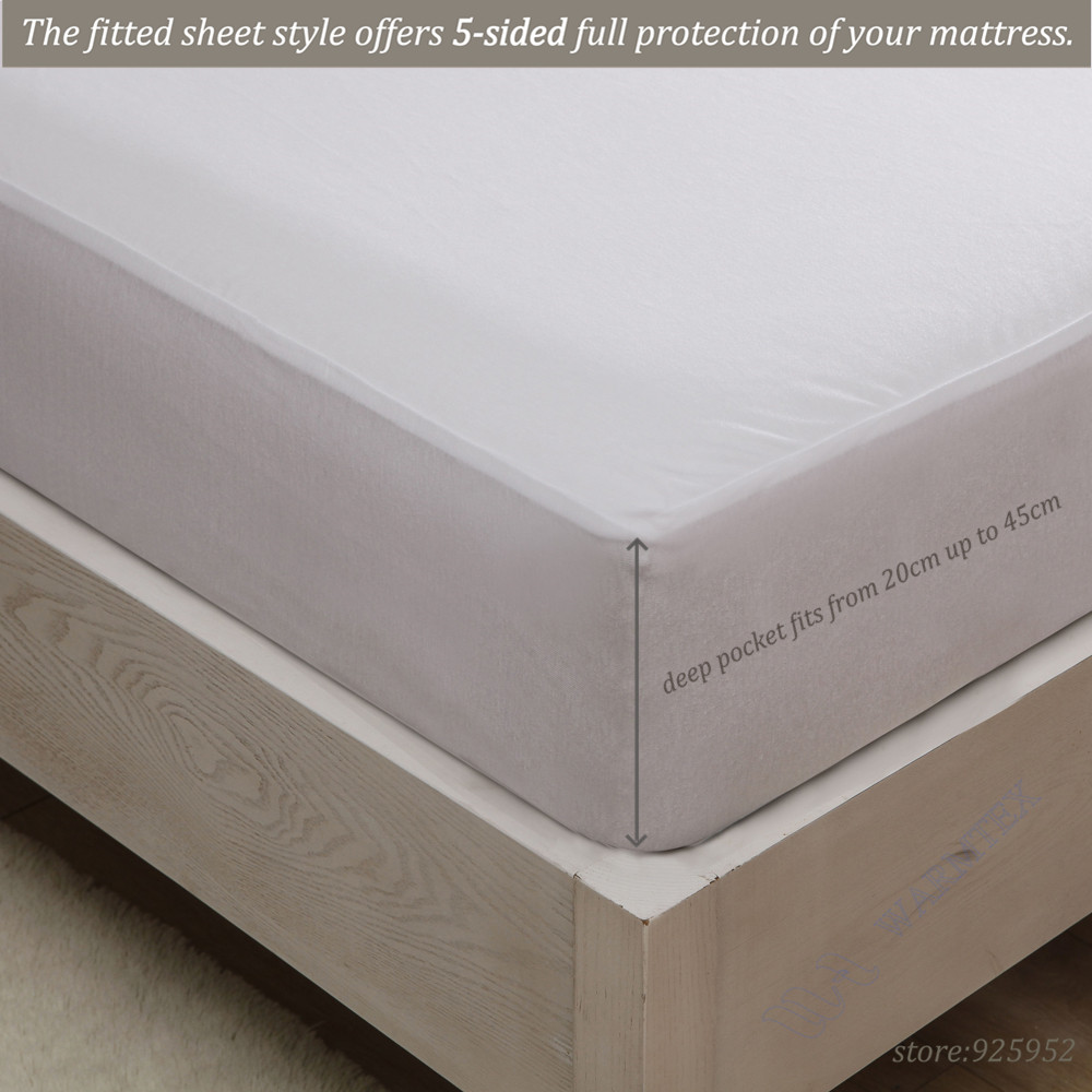 US High quality Customized Basic knit Waterproof Mattress Cover/ Mattress Protector Queen 150x200cm fits matress 20cm to 30cm