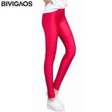 BIVIGAOS Summer Spandex Ice Silk Leggings Thin Slim Skinny Leggings Pants Glossy Legging Fitness Multicolor Stretch Pants Women