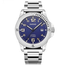 NEW Arrived 44mm PARNIS Blue Dial Super Luminous Date Stainless Steel Band Luxury Miyota Automatic Movement mens Watch
