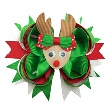 10pcs 5-6inch Christmas Reindee Hair Bows Clips Baby Girl Boutique Bow for Women Accessories