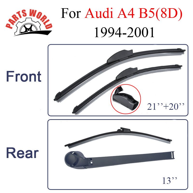 Front and Rear Wiper Blades For Audi A4 B5(8D) 1994-2001 Windscreen Windshield Natural Rubber Auto Parts Car Accessories