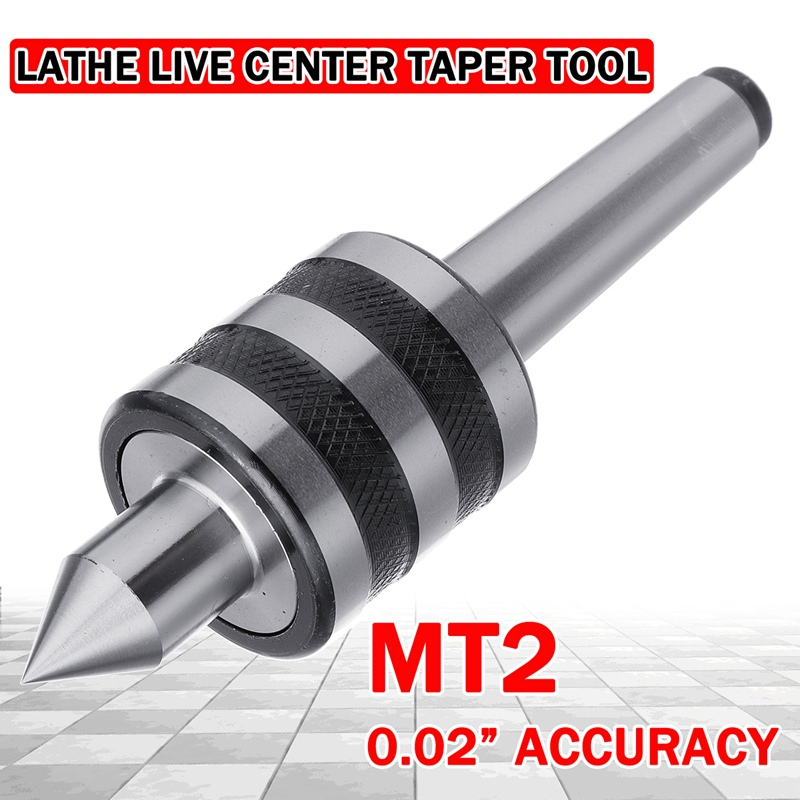 Doersupp 1Pcs Steel MT2 Live Center 0.02 Inch Accuracy Lathe Live Center Taper Tool Triple Bearing Drill Bit Mechanic Tools