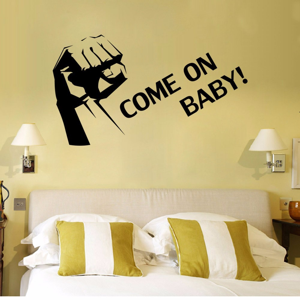 Come on baby wall stickers English encouragement vinyl decals kids ...