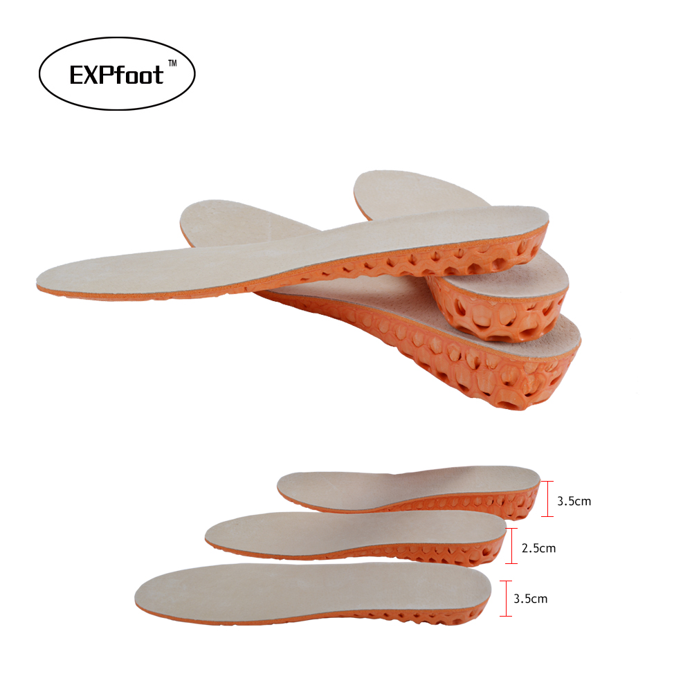 High Quality Natural Leather Memory foam increased insole Lift Height 15-35 Increase Heel Insoles Pair Taller For Men and Women high quality new 3 layer 7cm air bubble cushion shoe lift height increase heel insoles pair taller for men and women