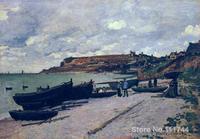 Sainte Adresse Thuyền Đánh Cá trên Shore Claude Monet tranh Trang Trí nghệ thuật Handmade chất lượng Cao