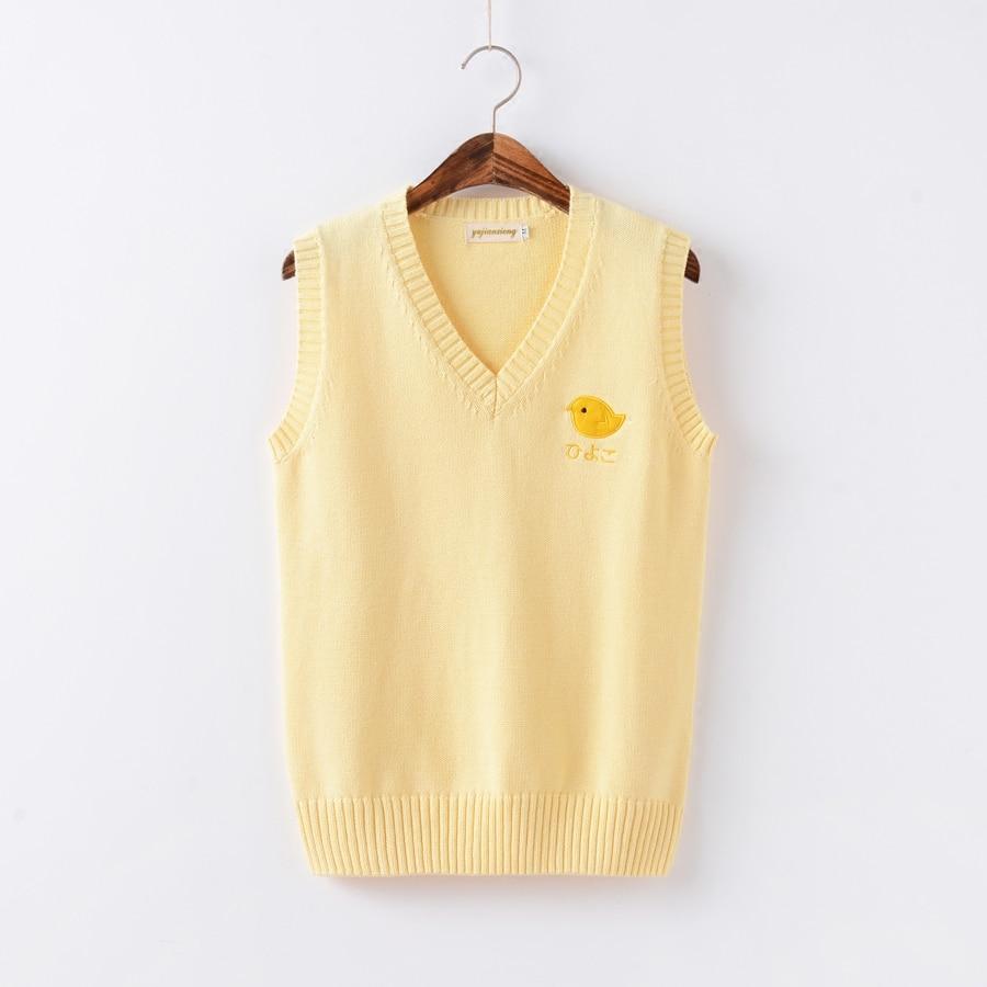 JK Uniforms Japanese Cosplay Žlutá kuřata vzor vyšívací svetr - Dámské oblečení