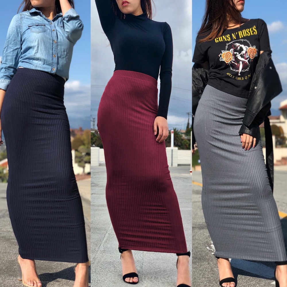 f870c2f594 Fashion Women's Pencil Skirt Knitting Cotton Long Skirt Elegant Modest  Muslim Bottoms Ankle-Length Party