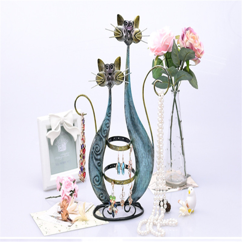 Creative nouveaux bijoux cadre rétro de bande dessinée chat boucles d'oreilles de stockage ornements collier bracelet bijoux présentoir S049