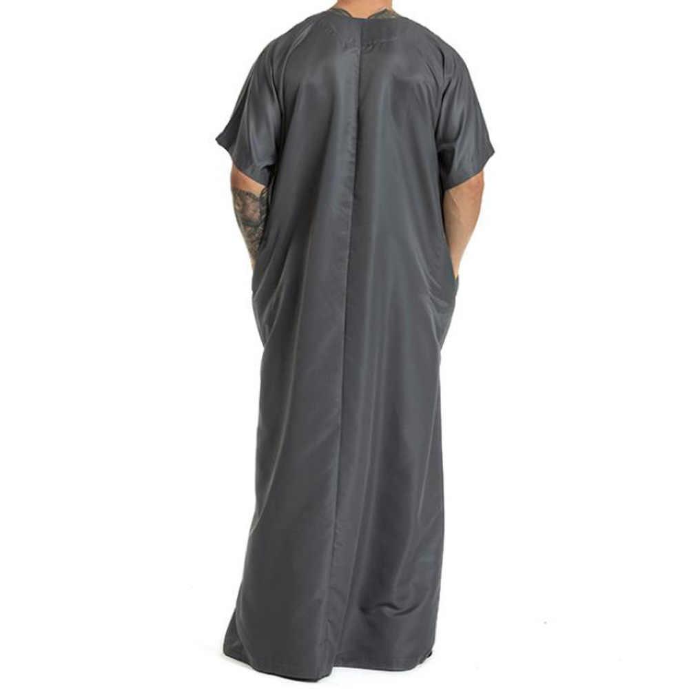Мужская мусульманская одежда больших размеров, одежда Кафтан абайя мусулман Homme, ислам, короткий рукав, Саудовская Аравия, мужские винтажные свободные платья