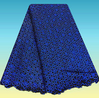 CN1 4 Best Selling African Cord Lace Fabric In Navy Blue High Class Guipure Water Soluble