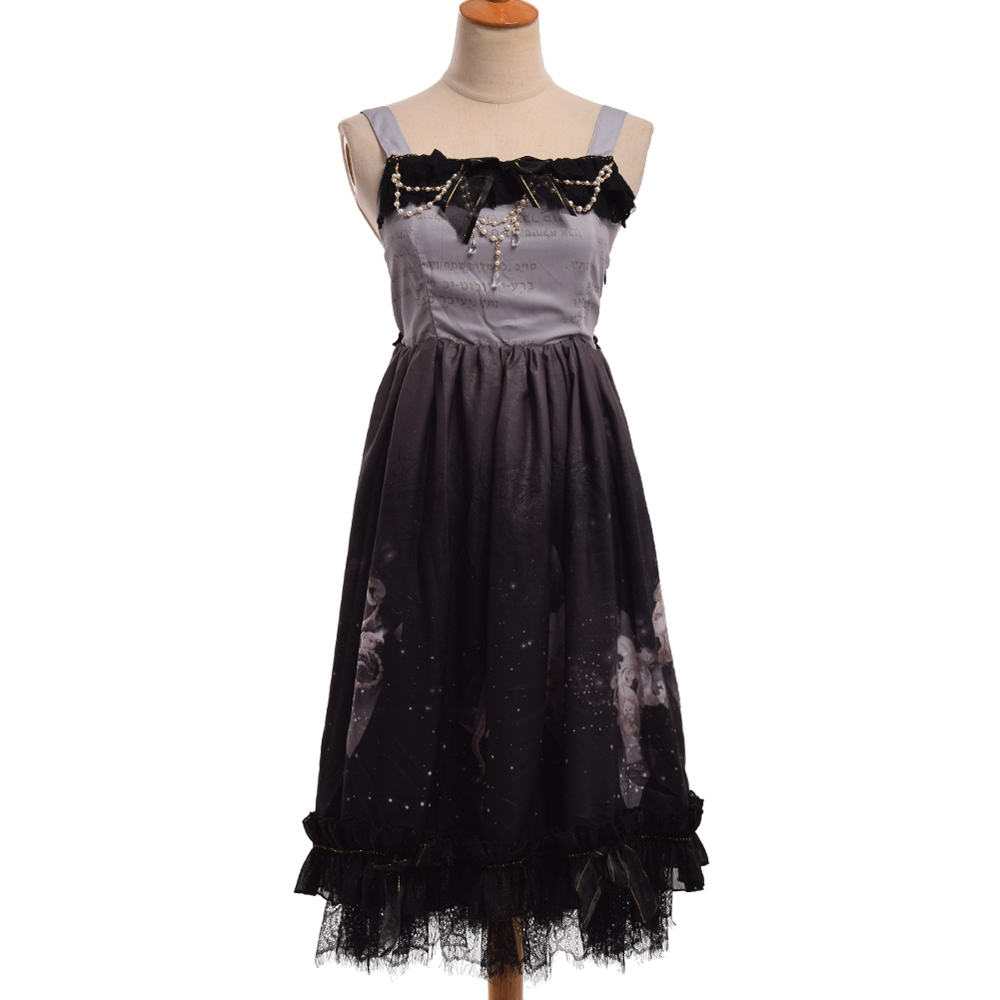 Sweet Dress Women Cute Sleeveless Lolita Suspender Beading Decoration Starry Dresses