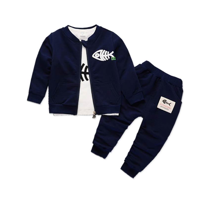 Fashion Children Boys Girls Pure Cotton Clothes Baby Spring Autumn Jacket T-shirt Pants 3 Pcs/sets Kids Leisure Zipper Tracksuit 2017 spring autumn 1 6t kids cotton long sleeve t shirt baby boys girls age number blouse tops children pullovers tee camiseta