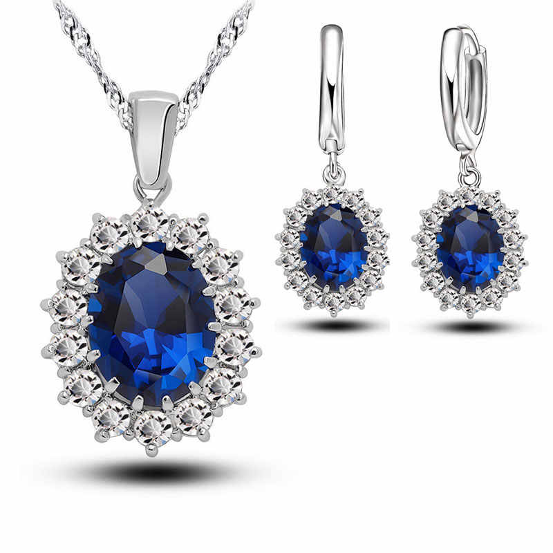 Bridal Wedding Jewelry Sets Women Crystal 925 Sterling Silver Blue Cubic Zircon Engagment Earrings Pendant Necklace Set