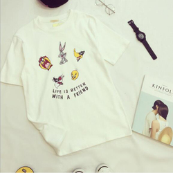 Cute Cartoon Print Tshirt Women Spring Summer New Style Short Sleeve O Neck Cotton Women Tops Tees Loose Woman T shirt 6