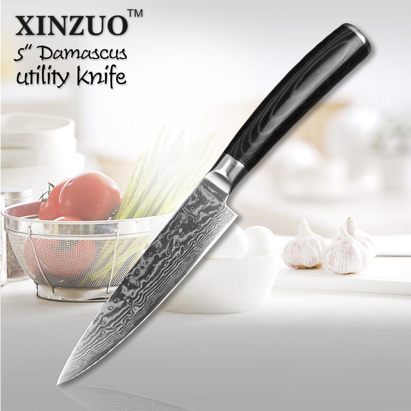 XINZUO 5 Utility knife Japanese VG10 Damascus kitchen knives cutting Peeler Fruit Vegetable knife Micarta handle with gift case