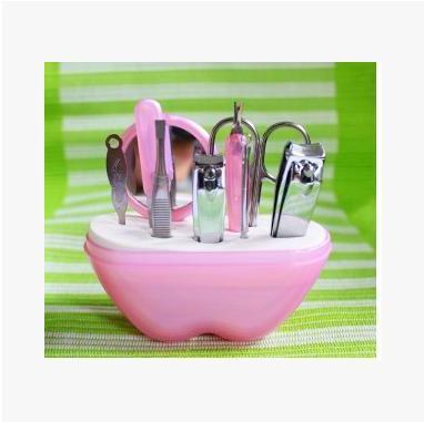 9pcs/set Apple type nail clippers eyebrows folder nail scissors nail file dead skin fork earpick squeeze acne needles