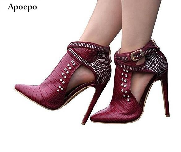Apoepo Wine Red Snake Pattern Leather Boots Sexy Pointed toe Crystal Embellished high heel boots Woman thin heels ankle boots