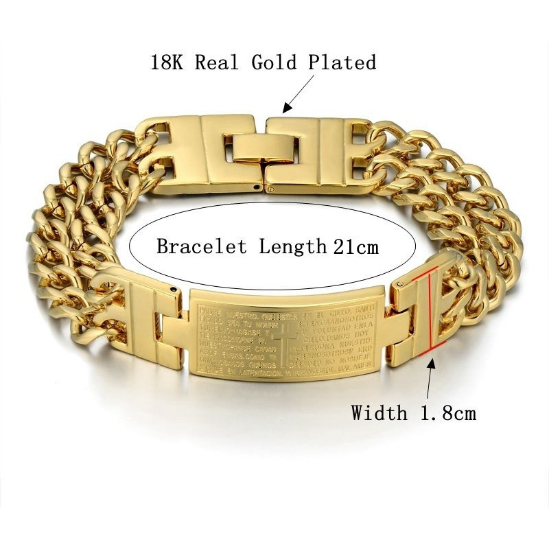 Unique Double Cuban Chain Link Bracelet Punk Male Gold Color Cross - Fashion Jewelry - Photo 2