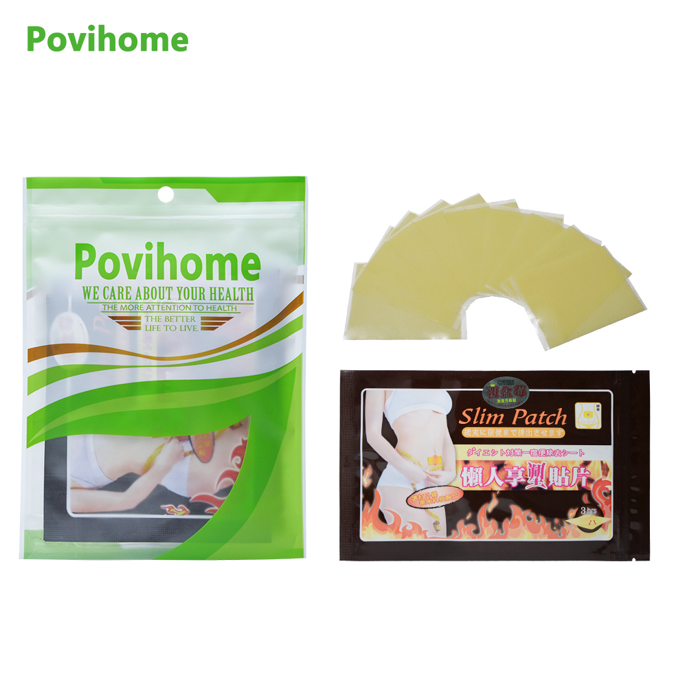 Povihome 170Pcs/17Bags Slimming Patch Slim Navel Stick Diet Products Weight Loss Burning Fat Cream Body Slim Patches D1126