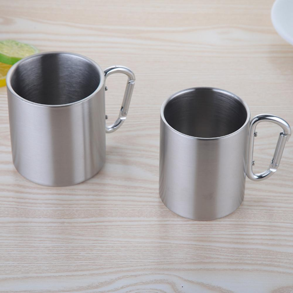 Image 4 - 220/300/350/450ml Stainless Steel Cup Portable Camping Traveling Outdoor Cup Double Wall Mug With Carabiner Hook Handle-in Outdoor Tablewares from Sports & Entertainment