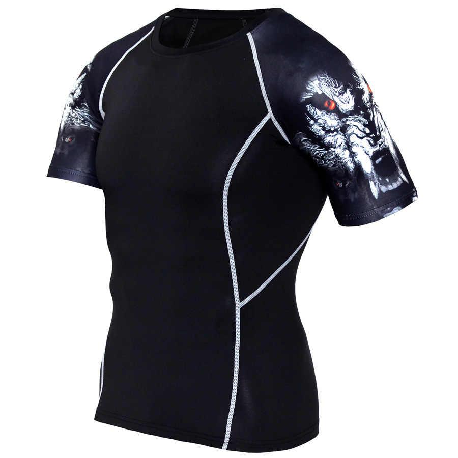 Serigala 3D Dicetak Tshirt Kompresi Celana Ketat Pria Kebugaran Berjalan Kemeja Bernapas Lengan Pendek Olahraga Rashgard Gym Bersepeda Pakaian