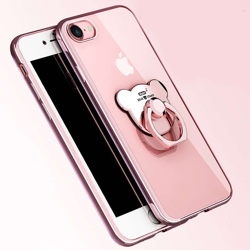 For iphone 5s 6 6s plus case fundas ring mirror bear soft for Coque iphone 6 miroir
