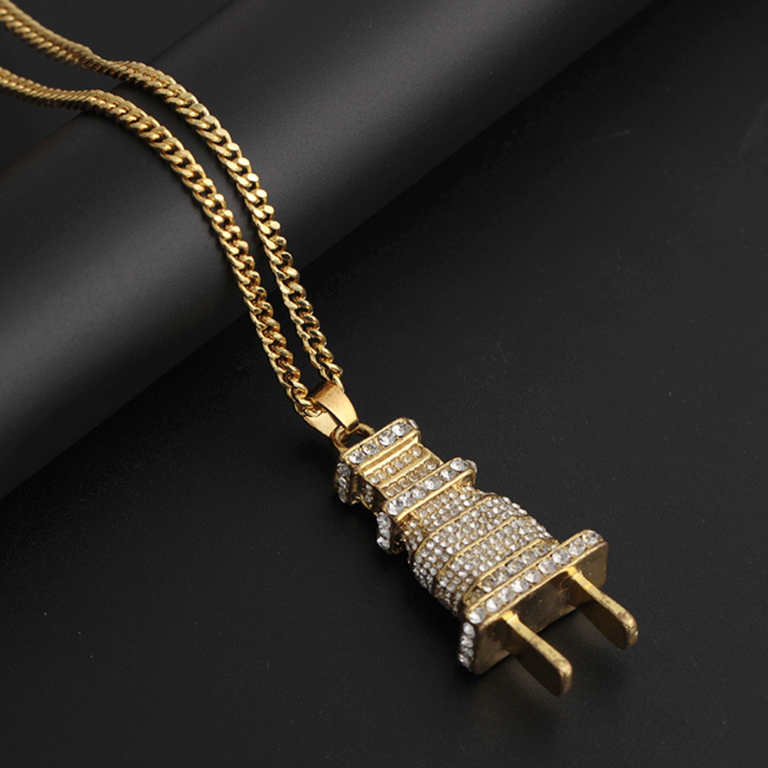 Vintage Punk Crystal Wall Plug Pendant Necklace For Men Hip Hop Rock Jewelry Shellhard Silver Gold Rhinestone Necklace