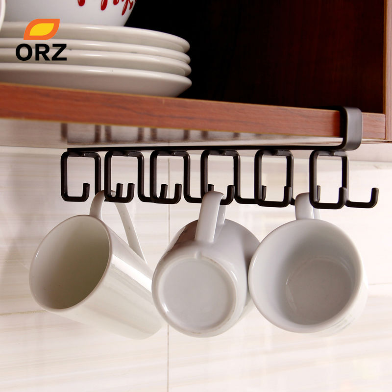 ORZ Kitchen Storage Rack Cupboard Hanging Hook Shelf Cup Dish Hanger Chest Storage Shelf Bathroom Holder Organizer Hooks