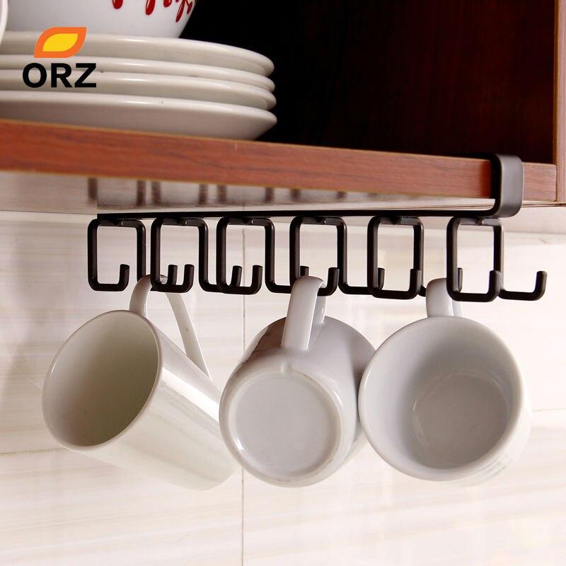 ORZ Kitchen Storage Rack Cupboard Hanging Hook Shelf Cup Dish Hanger Chest Storage Shelf Bathroom Holder Organizer