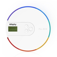 Athphy Pill Box Electronic Timing  Rainbow Pill Reminder Non-toxic Travel Smart Medical Multi Alarm 7 Grids Cutter Pills Cases 2018 portable grid intelligent electronic timing pill case alarm timer pills reminder storage box best gift for women