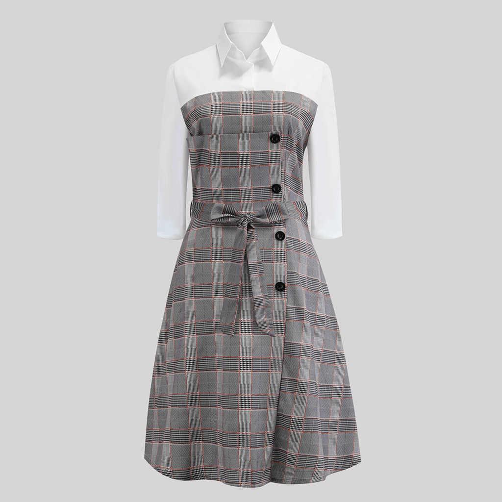 Для женщин Повседневное платье в клетку Панель кнопка с длинным рукавом Платье с поясом Aodach bhoireannaich # L5